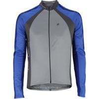Jaqueta De Ciclismo Com Proteção Solar Uv Barbedo Fl0165 - Masculina - Cinza Cla/Azul