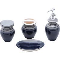 Jogo Para Banheiro 4 Peças Cerâmica Cinza E Preto Prestige