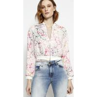 Jaqueta Floral- Off White & Rosa- Miss Bellamiss Bella