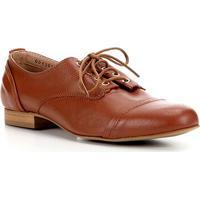 Oxford Couro Shoestock Basic Confort Feminina - Feminino-Caramelo