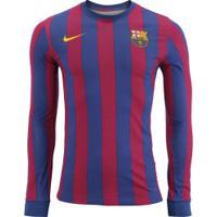 ... Camiseta Manga Longa Barcelona Retrô Nike - Masculina - Azul Esc Vinho be6a0a50821e1
