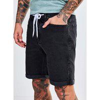 Bermuda Black Jeans Com Barra Dobrada