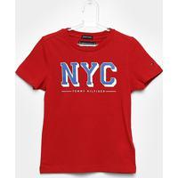 d15442644b ... Camiseta Infantil Tommy Hilfiger Estampada Masculina -  Masculino-Vermelho