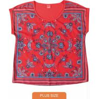 Blusa Vermelho Ampla Com Cetim Wee!