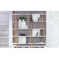 Estante Para Livros Branca 5 Prateleiras Com Pés De Madeira Cor Jatobá - Sue 180X38X180 Cm