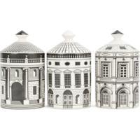 Fornasetti Conjunto 3 Velas Com Suporte De Cerâmica 'Ordine Architettonico' - Branco