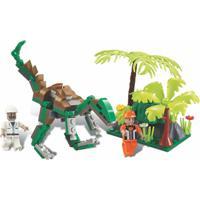 Blocos De Encaixe Xalingo Dino Saga Expediçáo Raptor Dinossauros 126 Peças 6521 Verde - Tricae
