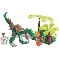 Blocos De Encaixe Xalingo Dino Saga Expedição Raptor Dinossauros 126 Peças 6521 Verde