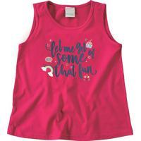 Blusa De Inscrições - Rosa Escuro & Azul - Primeiro Malwee