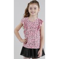 Blusa Infantil Estampada Floral Manga Curta Decote Redondo Rosa