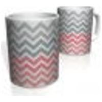 Caneca De Porcelana Nerderia E Lojaria Linha Zigzag Cinza Rosa Colorido
