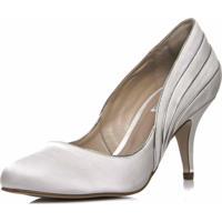 Sapato Noiva Cetim Salto Mã©Dio - Ri5725 Off White - Off-White - Feminino - Dafiti