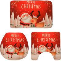 """Jogo De Banheiro """"Merry Christmas""""- Vermelho & Bege Clarmabruk"""