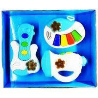 Brinquedo Bandinha 3 Pcs Com Luz E Som Angel Music Azul