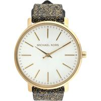 Relógio Couro Michael Kors Mk2878/0Dn Dourado/Prata