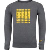Blusão De Moletom Nike Barcelona Gfa - Masculino - Cinza Esc Mescla