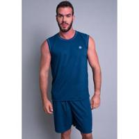 Pijama Mvb Modas Curto Camiseta Masculino - Masculino-Azul