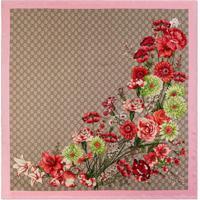 Gucci Lenço Estampado 'Gg Bouquets' De Seda - Neutro