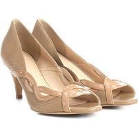 Peep Toe Couro Shoestock Salto Fino Ondas - Feminino