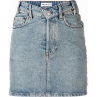 Balenciaga Saia Jeans Com Cós Em V - Azul