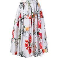 Alexander Mcqueen Floral Print Midi Skirt - Branco