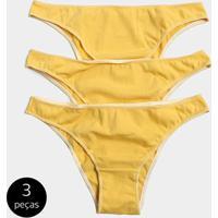 da8ffdae02d374 Kit Calcinha Stellarum 3 Peças Corte Reto - Feminino-Amarelo