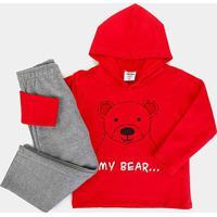 Conjunto Moletom Infantil Rovitex Estampa Urso - Masculino-Vermelho