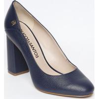 84b280278b Sapato Tradicional Em Couro Com Tag- Azul Marinho- Sloucos E Santos