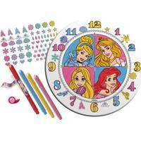 Conjunto De Artes - Relógio Para Colorir - Disney - Princesas - New Toys