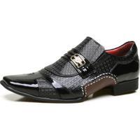 Sapato Social Calvest Em Couro Com Textura Preto