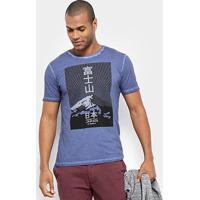 Camiseta Jab Estampa Montanha Masculina - Masculino-Marinho