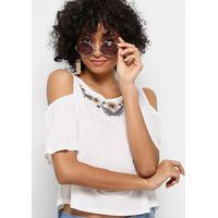 Blusa Drezzup Open Shoulder Com Bordado Feminina - Feminino-Off White