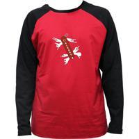 Camiseta Alkary Raglan Manga Longa Canivete Suiço Vermelha E Preta