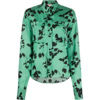 Plan C Blusa Mangas Longas Com Estampa Floral - Verde