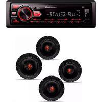 Radio Mp3 Player Pioneer Bluetooth Usb Aux Mvh-298Bt E Kit 4 Alto Falante Bomber Triaxial 6 Pol