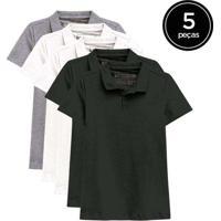 Kit De 5 Camisas Polo Femininas De Várias Cores Pr