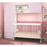 Berço Roupeiro Infantil Branco Rosa Peterdecor