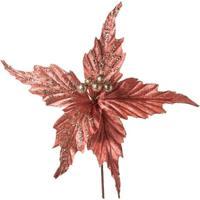 Flor Poinsetia Veludo Decoração Natal 30X25Cm 1 Unidade Rose