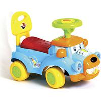 Carrinho Andador Infantil Primeiros Passos Dog Encosto Direção Maneável Musica Buzina Unitoys (Azul)