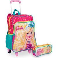 Kit Barbie 19M Plus 2 Infantil Sestini- Mochilete + Estojo - Feminino-Rosa
