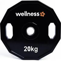 Anilha Poliuretano Wellness - Furação Olímpica - 12 Faces Com Pegadas - 20,00Kg - Unissex