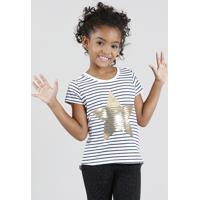 Blusa Infantil Listrada Estrela Com Paetê Manga Curta Decote Redondo Branca