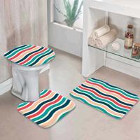 Jogo Tapetes Para Banheiro Linhas Coloridas -