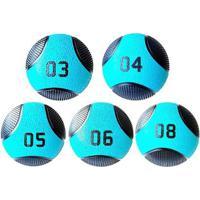 Kit 5 Medicine Ball Liveup Pro 3 4 5 6 E 8 Kg Bola De Peso Treino Funcional - Unissex