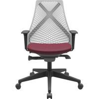 Cadeira Office Bix Tela Cinza Assento Poliéster Vinho Autocompensador Base Piramidal 95Cm - 64044 - Sun House