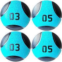 Kit 4 Medicine Ball Liveup Pro 3 E 5 Kg Bola De Peso Treino Funcional - Unissex