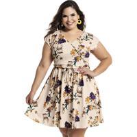 Vestido Evasê Com Transpasse Plus Size