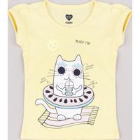 Blusa Infantil Gato Com Boia Manga Curta Amarela