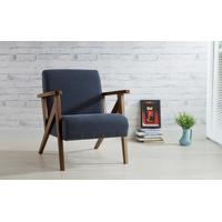 Poltrona De Madeira Decorativa Chumbo - Poltrona Confortável Para Sala E Quarto - Verniz Capuccino \ Tec.997 - Anis 72X76X85 Cm