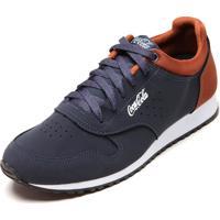 Tênis Coca Cola Shoes Jogging Hasan Azul-Marinho/Caramelo